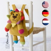 Logan the Lion Backpack Crochet Pattern - English, Dutch, German