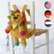 Logan the Lion Backpack Crochet Pattern - English, Dutch, German