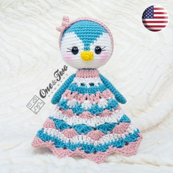 Priscilla the Sweet Penguin Security Blanket Crochet Pattern - English Version