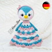 Priscilla the Sweet Penguin Security Blanket Crochet Pattern - German Version