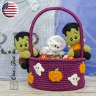 Spooky Halloween Basket Crochet Pattern - English Version
