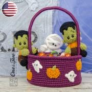 Spooky Halloween Basket Crochet Pattern - English Version