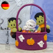 Spooky Halloween Basket Crochet Pattern - German Version