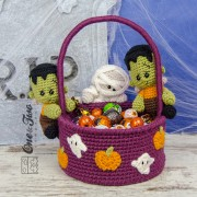 Spooky Halloween Basket Crochet Pattern - English, Dutch, German