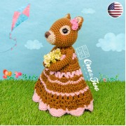 Suki the Squirrel Security Blanket Crochet Pattern - English Version