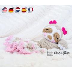 Stella the Sloth Security Blanket Crochet Pattern - English, Dutch, German, Spanish, French