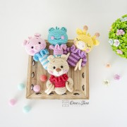 Animal Rattles: Teddy Bear, Giraffe, Frog and Pig Crochet Pattern - English, Dutch, German, Spanish, French