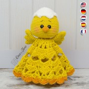 Coco the Little Chicken Security Blanket Crochet Pattern - English, Dutch, German, Spanish, French