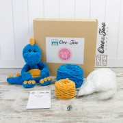 Dan the Dino Cuddler (Blue and Yellow version)- DIY Crochet KIT