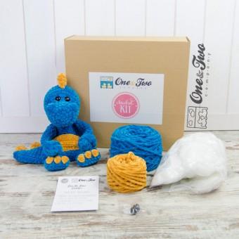 Dan the Dino Cuddler (Blue and Yellow version)- DIY Crochet KIT