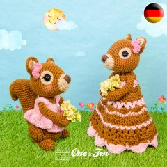 Suki the Squirrel Lovey and Amigurumi Crochet Patterns Pack - German Version