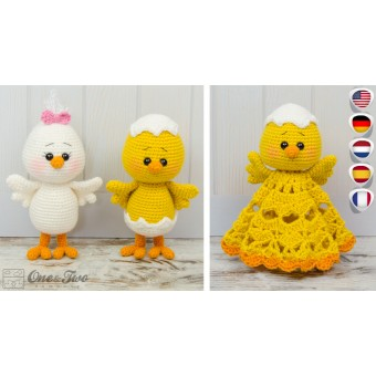 Coco the Little Chicken Lovey and Amigurumi Crochet Patterns Pack - English, Dutch, German, Spanish, French