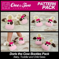 Doris the Cow Booties Pack - Baby, Toddler and Child sizes crochet patterns