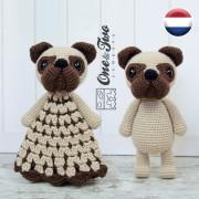 Hiro the Pug Lovey and Amigurumi Crochet Patterns Pack - Dutch Version