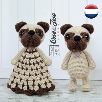 Hiro the Pug Lovey and Amigurumi Crochet Patterns Pack - Dutch Version