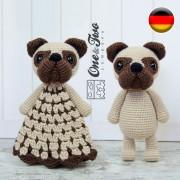 Hiro the Pug Lovey and Amigurumi Crochet Patterns Pack - German Version