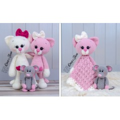 Kissie the Kitty and Skip the Little Mouse Lovey and Amigurumi Crochet Patterns Pack