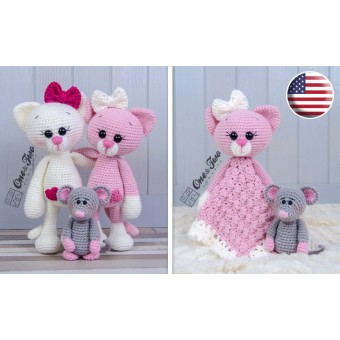 Kissie the Kitty and Skip the Little Mouse Lovey and Amigurumi Crochet Patterns Pack - English Version