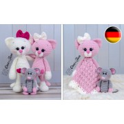 Kissie the Kitty and Skip the Little Mouse Lovey and Amigurumi Crochet Patterns Pack - German Version