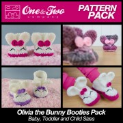 Olivia the Bunny Booties Pack - Baby, Toddler and Child sizes crochet patterns