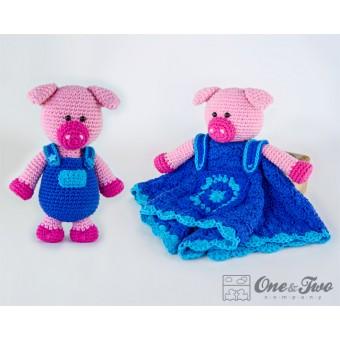 Eddie the Piggy Lovey and Amigurumi Crochet Patterns Pack