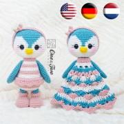 Priscilla the Sweet Penguin Lovey and Amigurumi Crochet Patterns Pack - English, Dutch, German