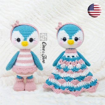Priscilla the Sweet Penguin Lovey and Amigurumi Crochet Patterns Pack - English Version