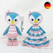 Priscilla the Sweet Penguin Lovey and Amigurumi Crochet Patterns Pack - German Version