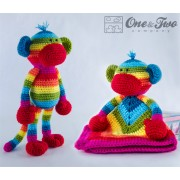 Rainbow Sock Monkey Lovey and Amigurumi Crochet Patterns Pack