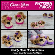 Teddy Bear Booties Pack - Baby, Toddler and Child sizes crochet patterns