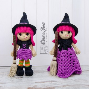Free Amigurumi Witch Pattern : Willow the Witch Lovey and Amigurumi Crochet Patterns Pack