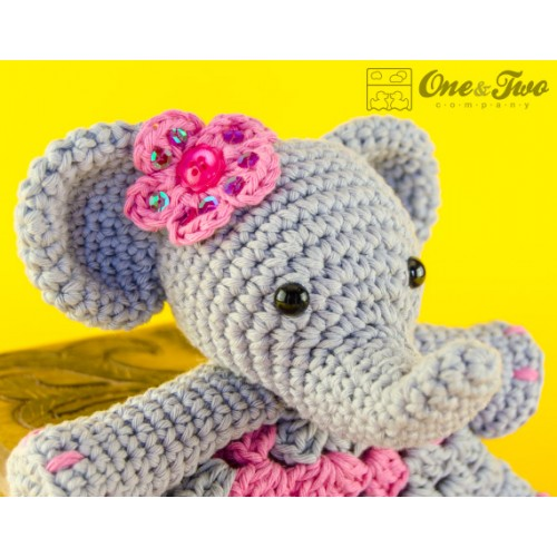 Amazon.com: Crochet Elephant Lovey, Security Blanket, baby shower ... | 500x500